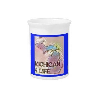 """Michigan 4 Life"" State Map Pride Design Pitcher"