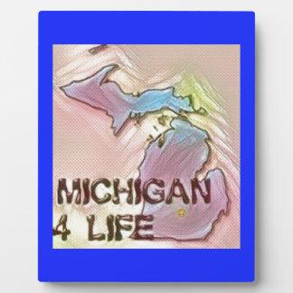 """""""Michigan 4 Life"""" State Map Pride Design Plaque"""