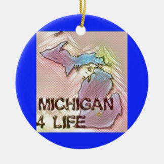 """Michigan 4 Life"" State Map Pride Design Round Ceramic Decoration"