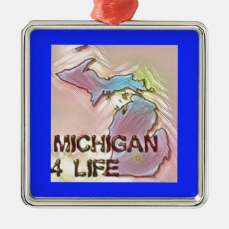 """Michigan 4 Life"" State Map Pride Design Silver-Colored Square Decoration"