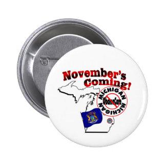 Michigan Anti ObamaCare – November's Coming Pinback Buttons