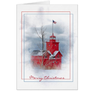 Michigan Big Red lighthouse in winter Card
