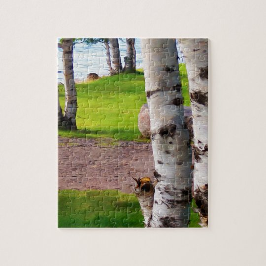 Michigan Birch Trees By Lake Jigsaw Puzzle