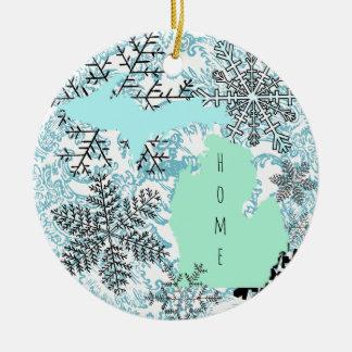 Michigan Christmas Ceramic Ornament