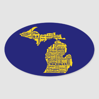 Michigan Cities Oval Sticker