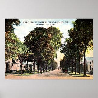 Michigan City Indiana Spring Street 1915 Poster