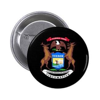 Michigan coat of arms 6 cm round badge