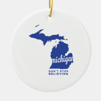 michigan | don't stop believing | blue ceramic ornament