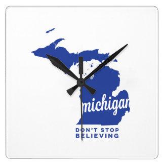 michigan | don't stop believing | blue wallclock