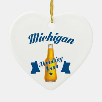 Michigan Drinking team Ceramic Heart Decoration