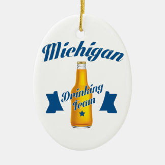 Michigan Drinking team Ceramic Oval Decoration