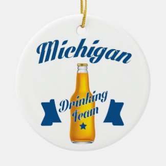 Michigan Drinking team Round Ceramic Decoration