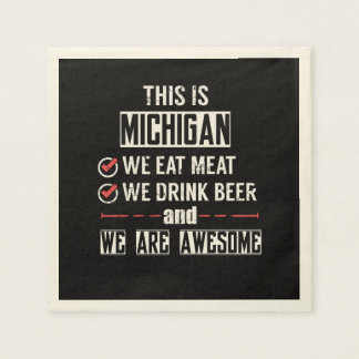 Michigan Eat Meat Drink Beer Awesome Paper Napkin