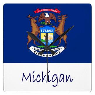 Michigan Flag And Name Square Wall Clock