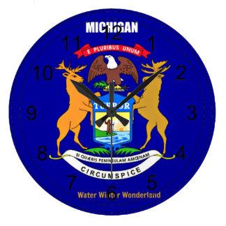 Michigan Flag and Slogan Large Clock