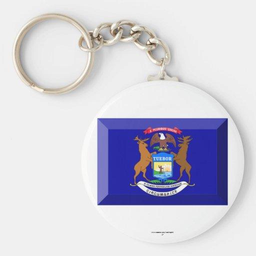 Michigan Flag Gem Keychain