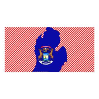Michigan Flag Map Customised Photo Card