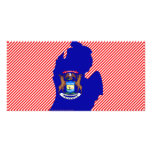 Michigan Flag Map Picture Card