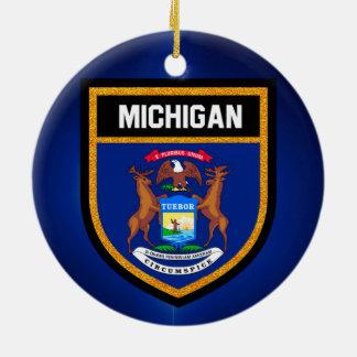 Michigan Flag Round Ceramic Decoration