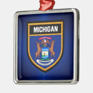 Michigan Flag Silver-Colored Square Decoration