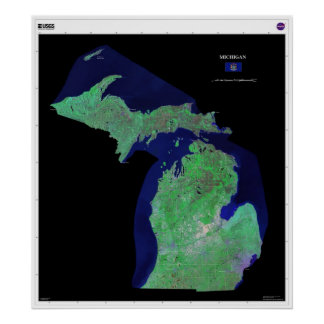 Michigan From Space Poster