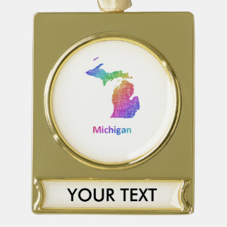 Michigan Gold Plated Banner Ornament