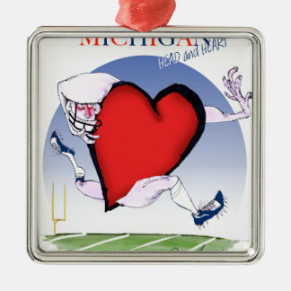 michigan head heart, tony fernandes Silver-Colored square decoration