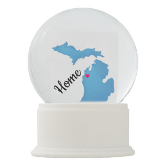 Michigan Home(customize the heart to your location Snow Globe