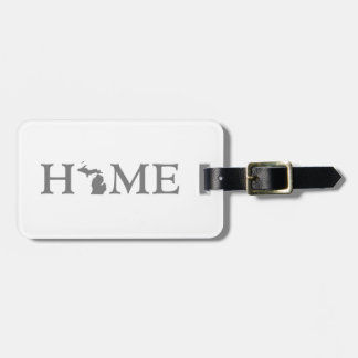 Michigan Home State Word Art Luggage Tag