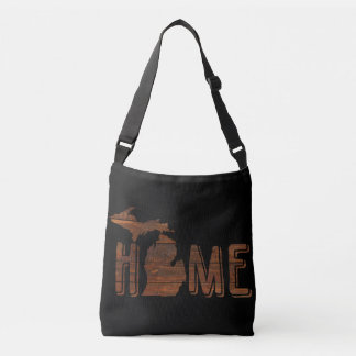 Michigan is Home | Brown Wood Planks | Souvenir Crossbody Bag
