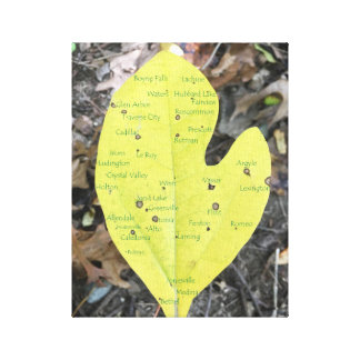 Michigan Leaf with Cities Canvas Print