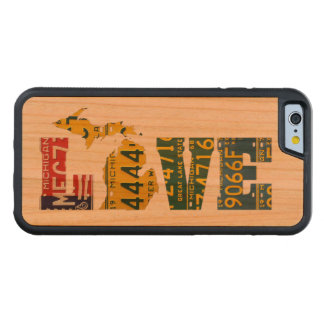 Michigan Love Recycled Vintage License Plate Art Cherry iPhone 6 Bumper Case