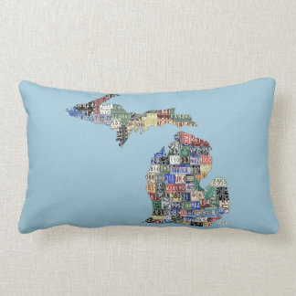 Michigan Love Recycled Vintage License Plate Art Cushion