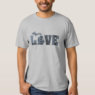 Michigan LOVE Vintage License Plate Word Art Blue Shirt