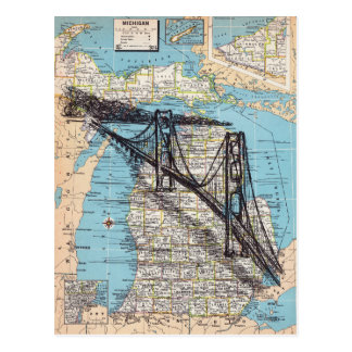 Michigan Map Art Postcard