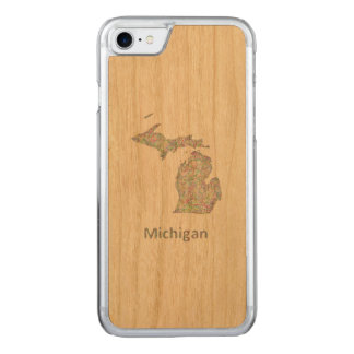 Michigan map carved iPhone 8/7 case