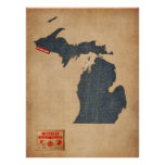 Michigan Map Denim Jeans Style Poster