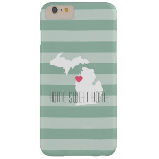 Michigan Map Home State Love with Custom Heart Barely There iPhone 6 Plus Case