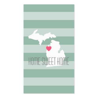 Michigan Map Home State Love with Custom Heart Double-Sided Standard Business Cards (Pack Of 100)