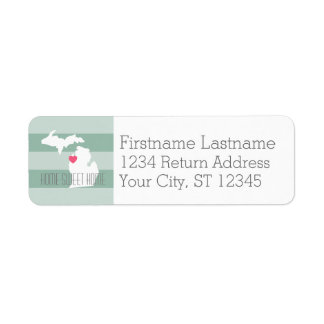 Michigan Map Home State Love with Custom Heart Return Address Label