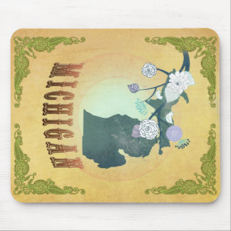 Michigan Map With Lovely Birds Mouse Pad