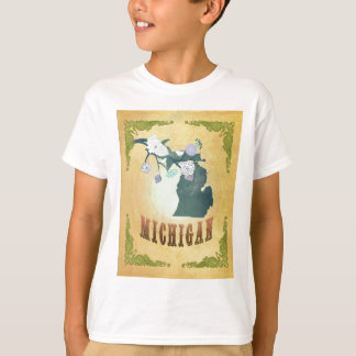 Michigan Map With Lovely Birds Tshirt