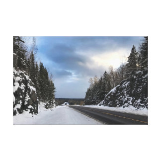 Michigan Open Road in Winter on Canvas