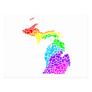 michigan pride rainbow hearts postcard