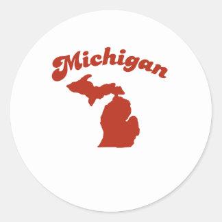 MICHIGAN Red State Round Stickers