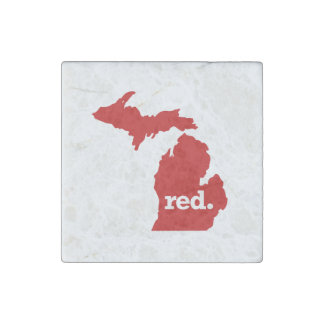 MICHIGAN RED STATE STONE MAGNET