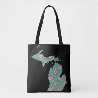 Michigan Shabby Roses and Dots | Customize It Tote Bag
