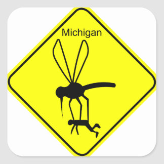 Michigan State Bird the Mosquito Square Sticker