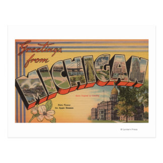 Michigan (State Capital/Flower) Postcard