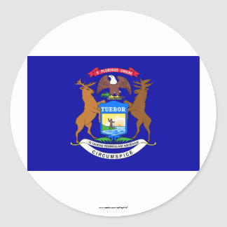 Michigan State Flag Classic Round Sticker
